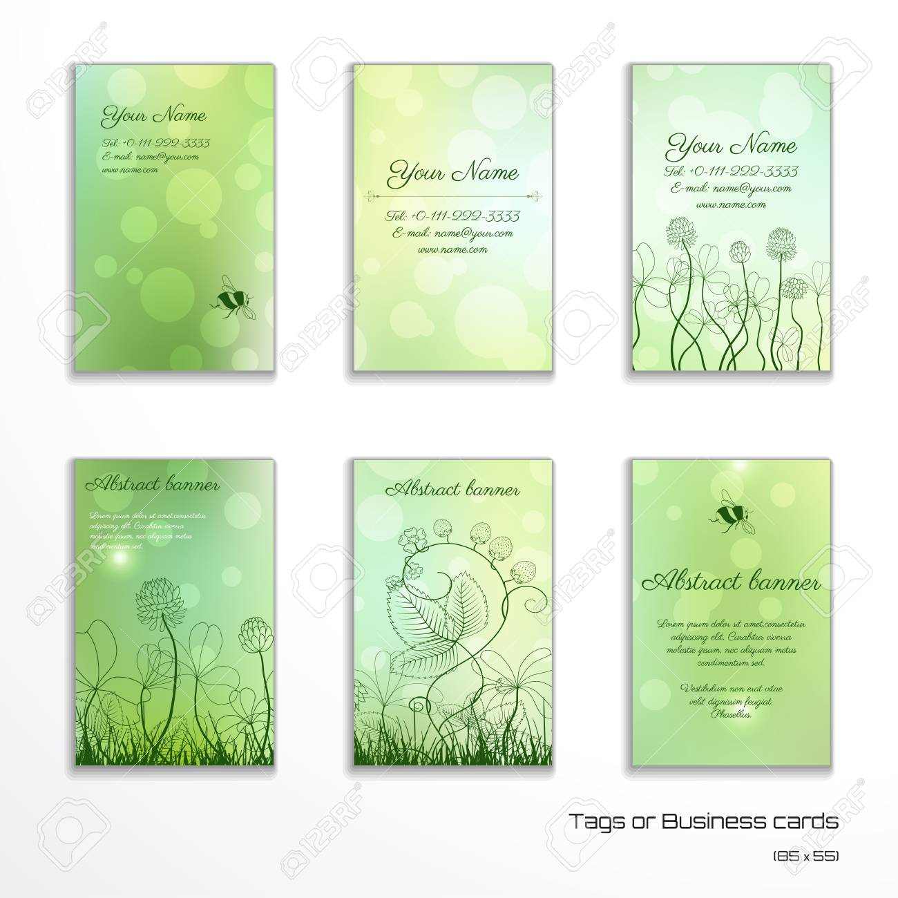 Set of six vertical business cards spring or summer design set of six vertical business cards spring or summer design clover and strawberry plants colourmoves