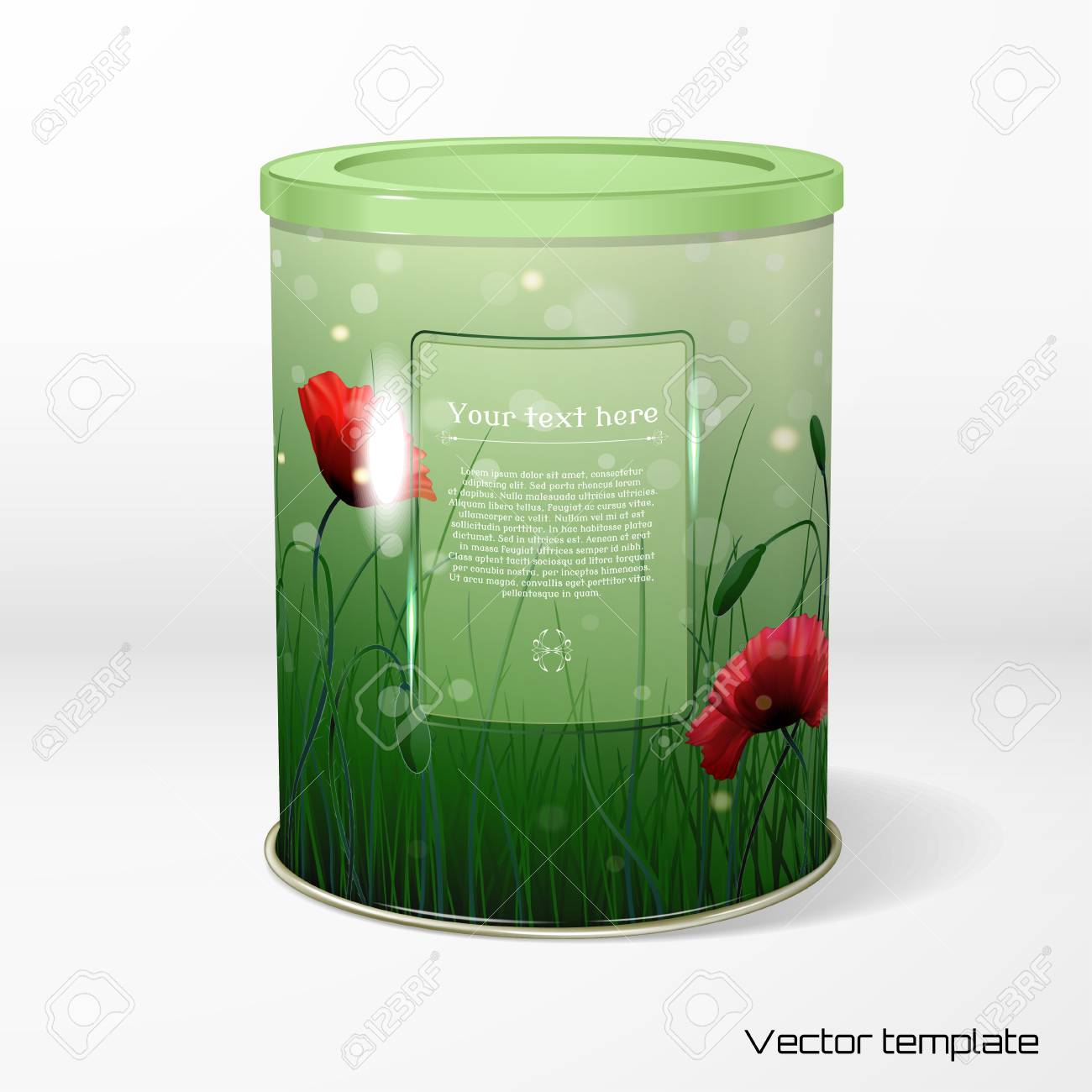 Round Tin Packaging With Spring Or Summer Design And Bokeh With