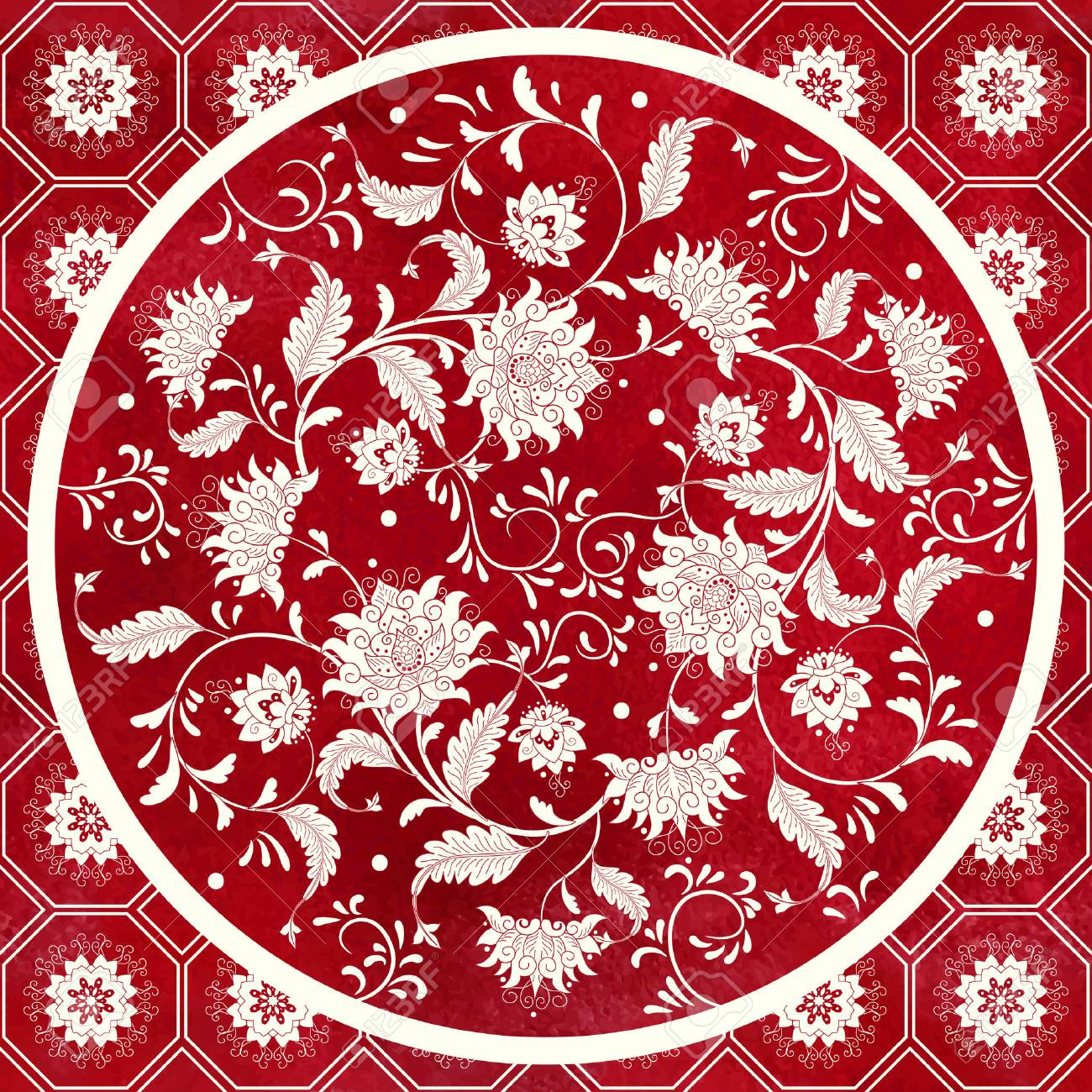 Vector Background Beautiful Floral Round Pattern In Chinese