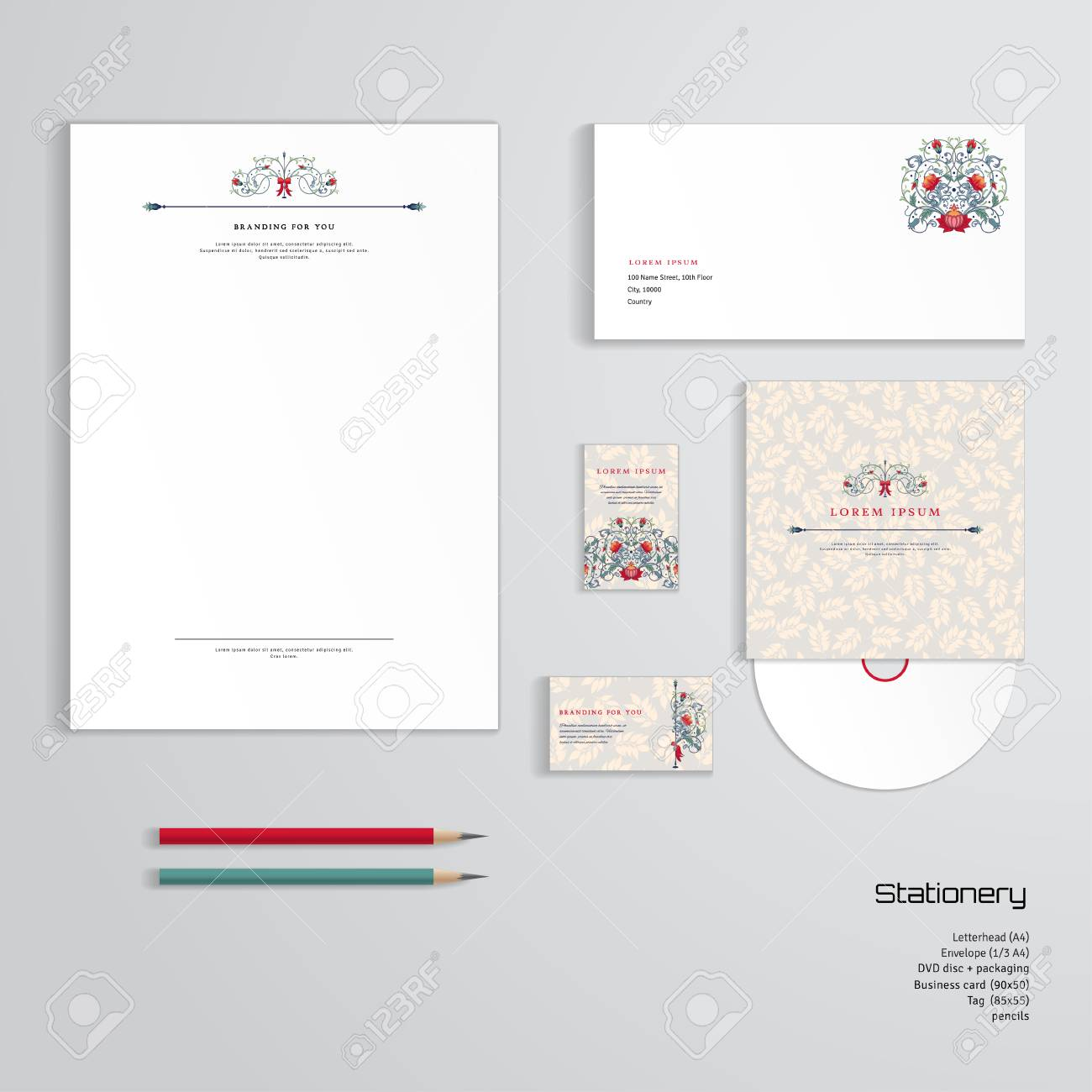 Vector identity templates letterhead envelope business card vector vector identity templates letterhead envelope business card tag disc with packaging pencils fantasy flowers and delicate ornament with accmission Choice Image
