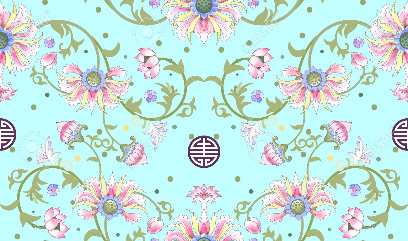 Seamless Vector Background Beautiful Floral Pattern Lotus Flowers