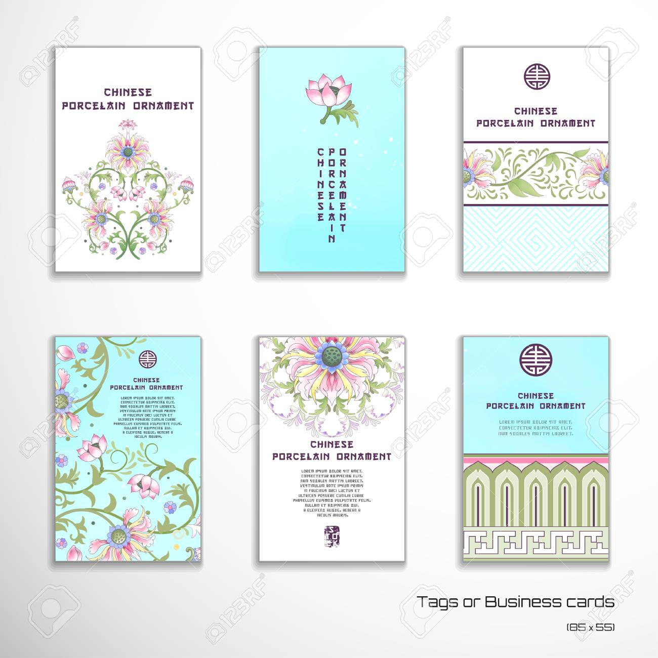 Set of six vector vertical business cards lotus flowers and set of six vector vertical business cards lotus flowers and leaves are painted by watercolor colourmoves