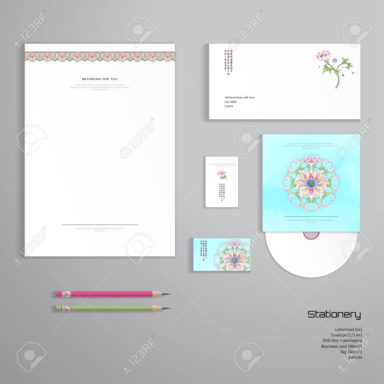 Vector identity templates letterhead envelope business card vector vector identity templates letterhead envelope business card tag disc with packaging pencils lotus flowers and leaves are painted by fbccfo Gallery