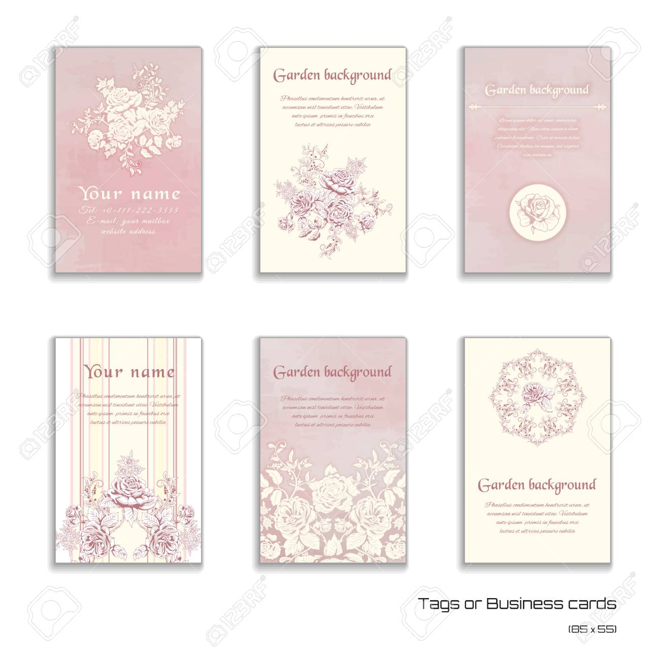 Set Of Six Vector Vertical Business Cards Hand Drawing Of A