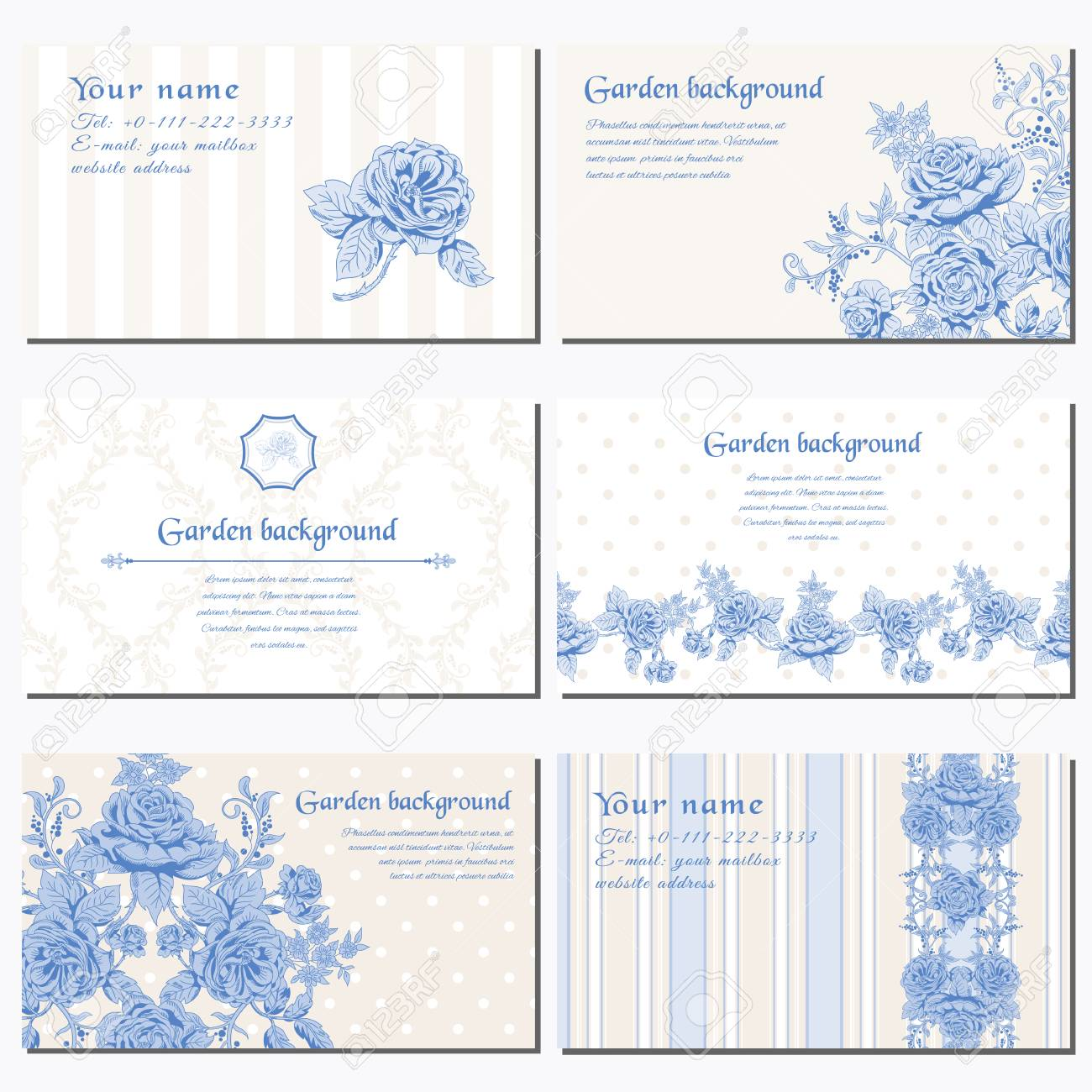 Set Of Six Horizontal Business Cards. Delicate Bouquet Of French ...