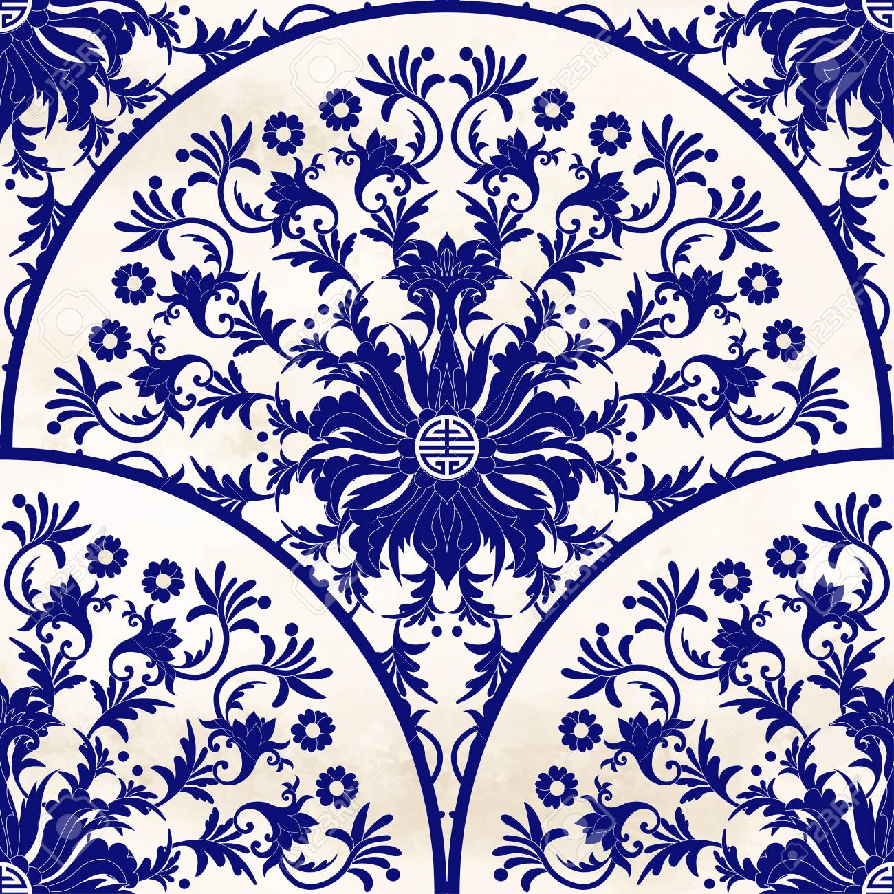 Seamless Vector Background Beautiful Floral Round Patterns In