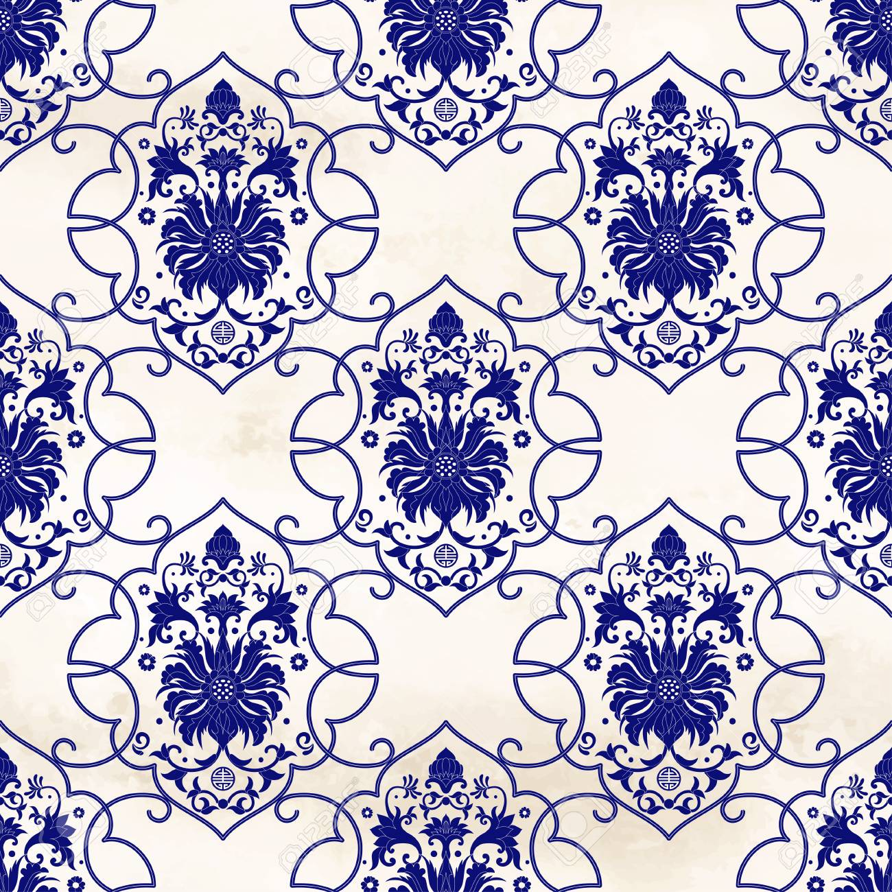 Seamless Vector Background With Curly Frames Around Patterns