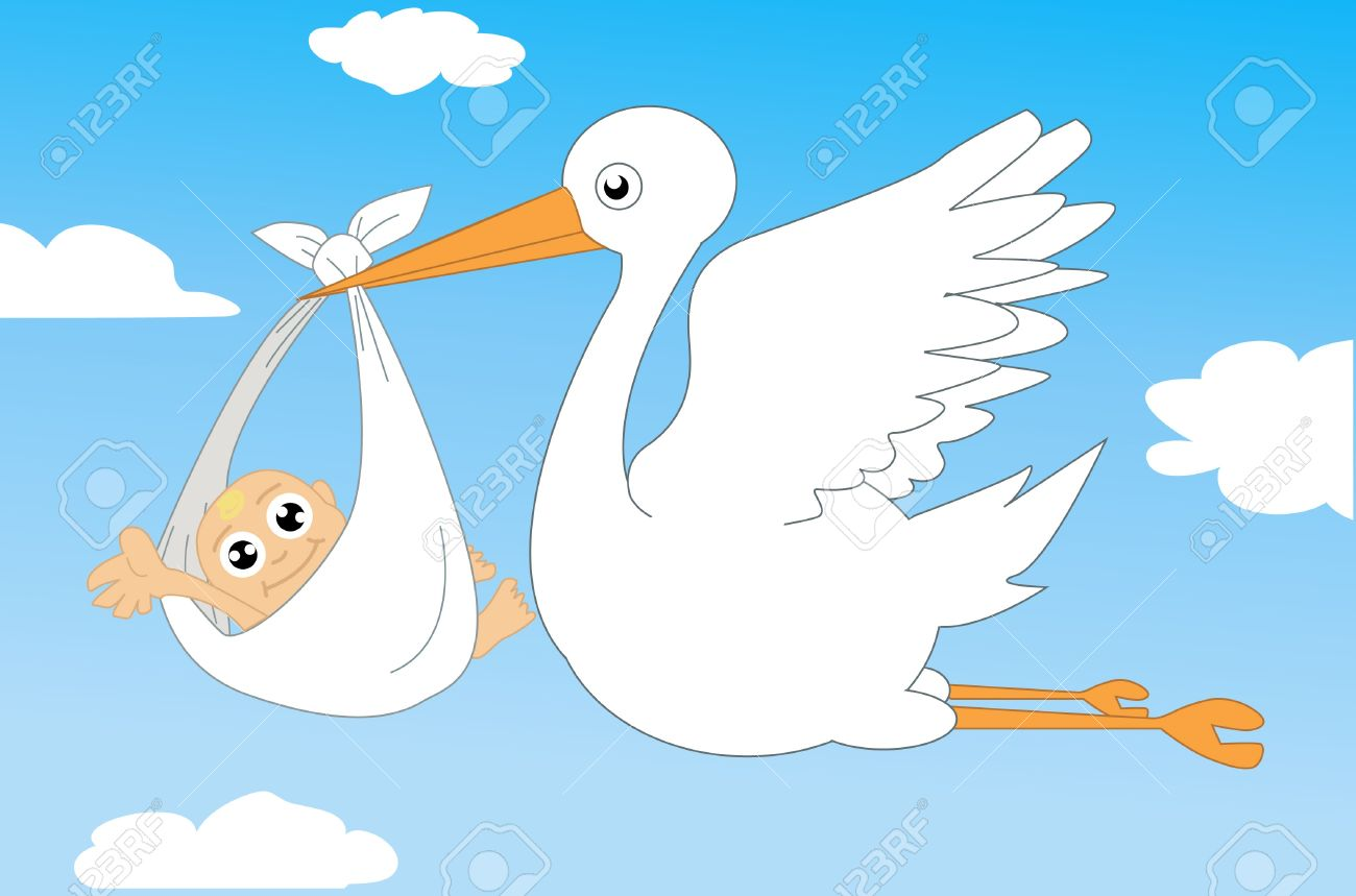 Stork and baby illustration Stock Vector - 12035081