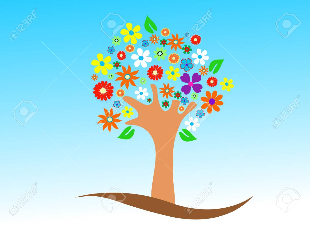 Colorful tree with flowers vector illustration Stock Vector - 13737643