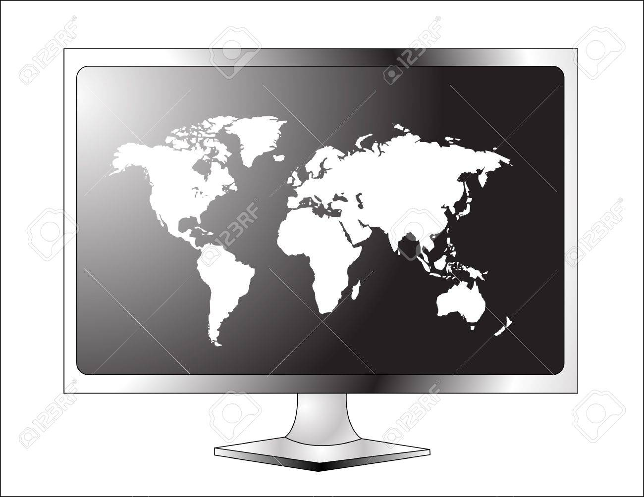 Plasma LCD TV with world map - 14347944