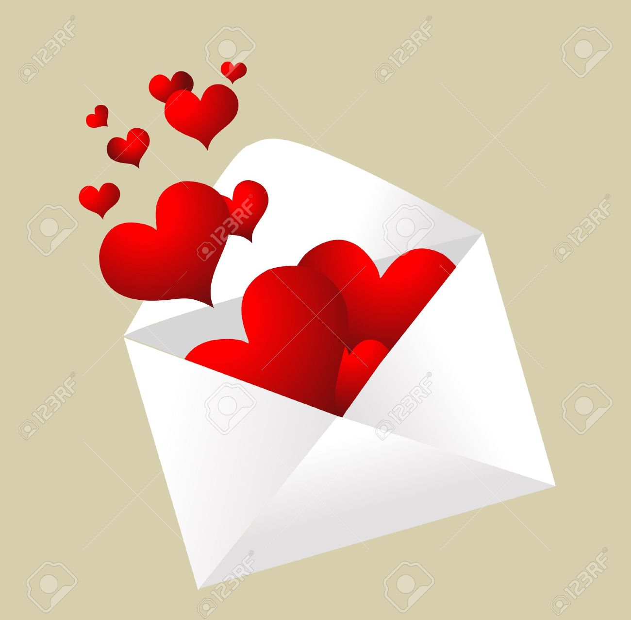 Envelope with hearts popping out - 14857302