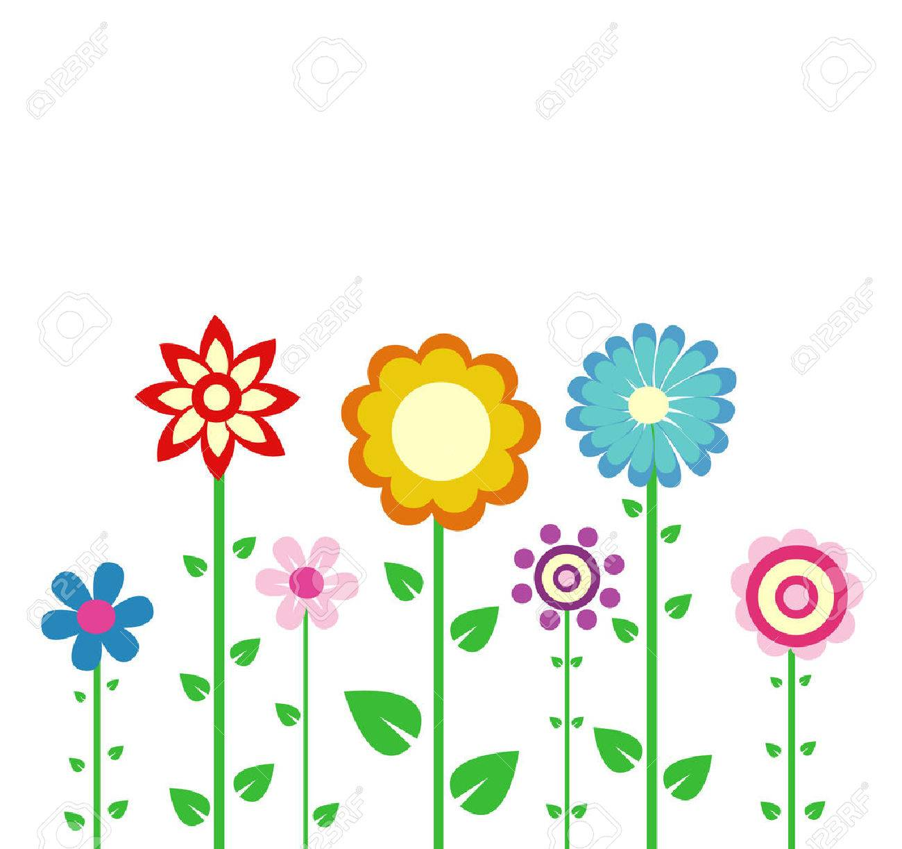colorful spring flowers vector illustration - 37449520