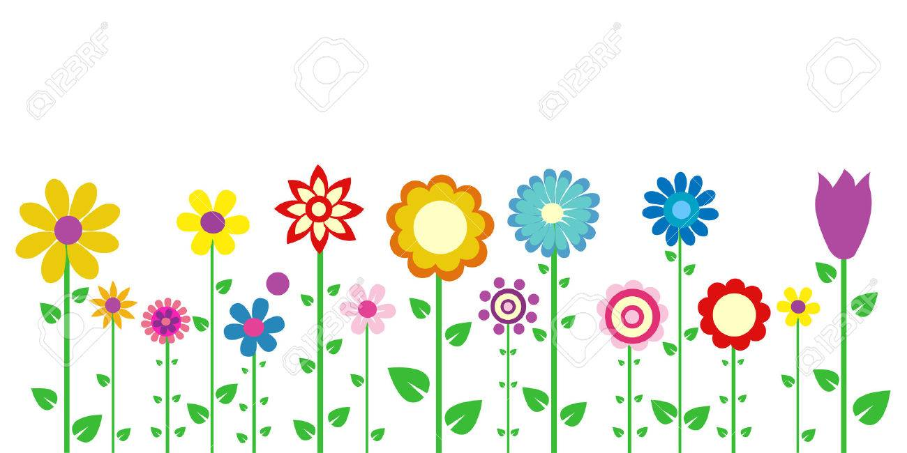 Colorful Spring Flowers Vector Illustration Royalty Fri Clipart