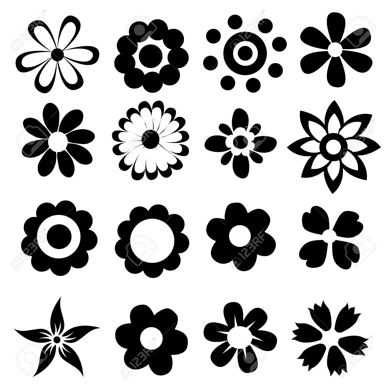 silhouettes of simple vector flowers royalty free cliparts vectors rh 123rf com simple vector drawing simple vector graphics