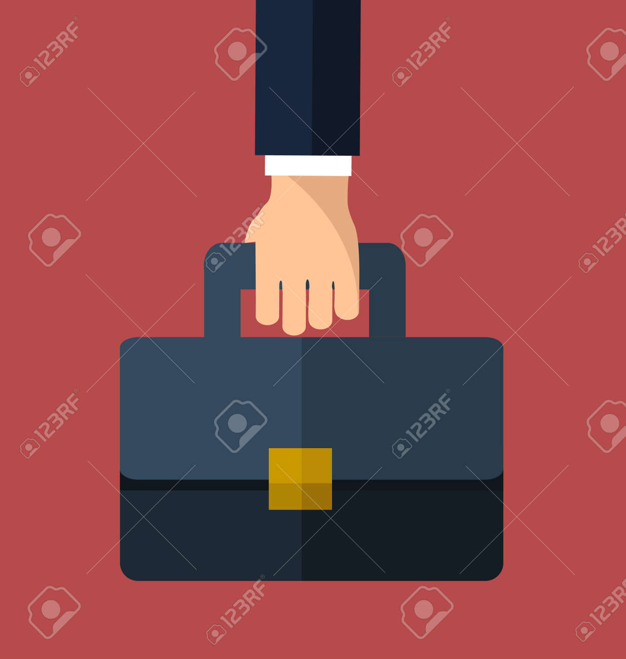 Bussiness, hand holding briefcase. Vector - 168398290