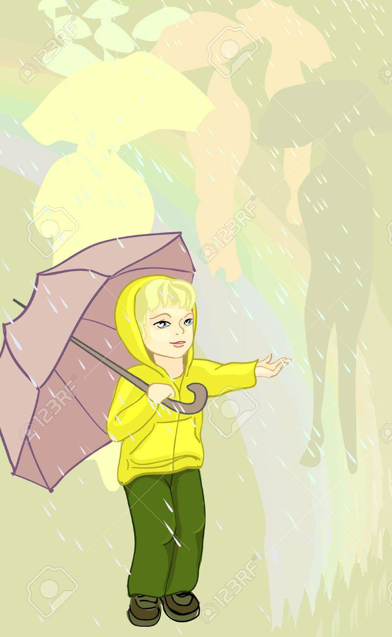 the child with umbrella in the rain royalty free cliparts vectors
