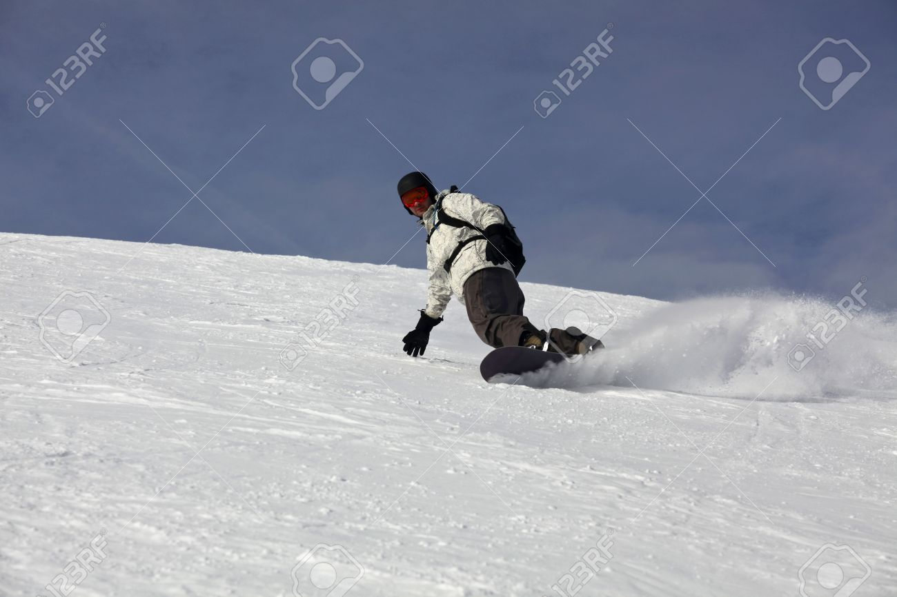 Cool Snowboard Drift On A Snowy Blue Background Stock Photo Picture And Royalty Free Image Image 6470392