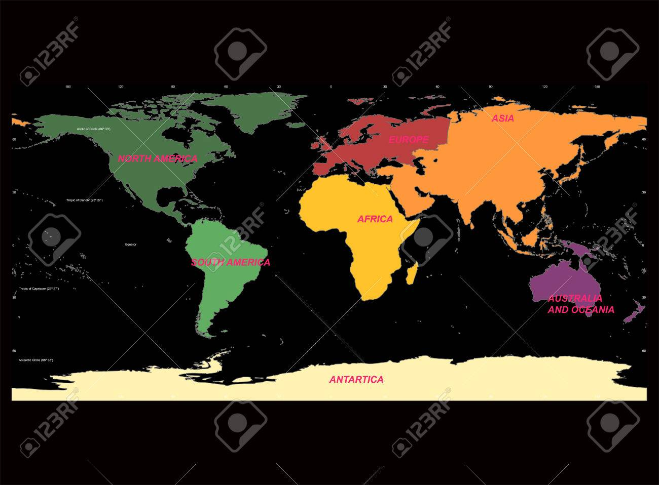 Detailed world map with names of continent and countries vector detailed world map with names of continent and countries vector isolated by group stock vector gumiabroncs