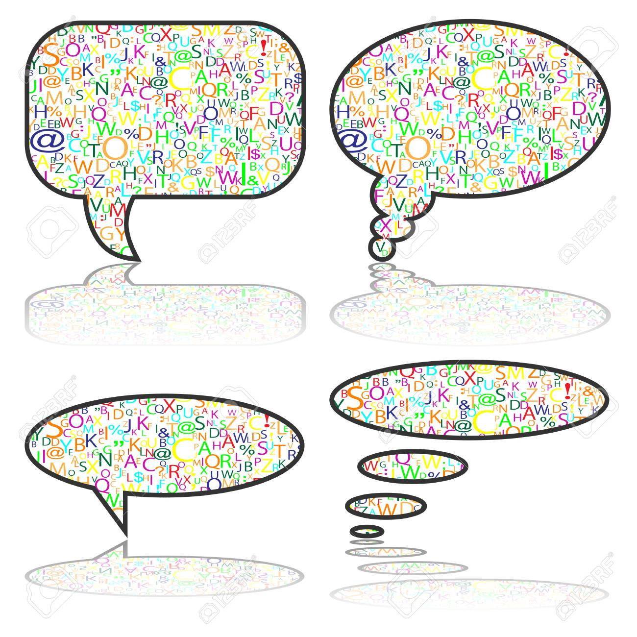 Social Media, communication bubbles with letters Stock Vector - 19749170