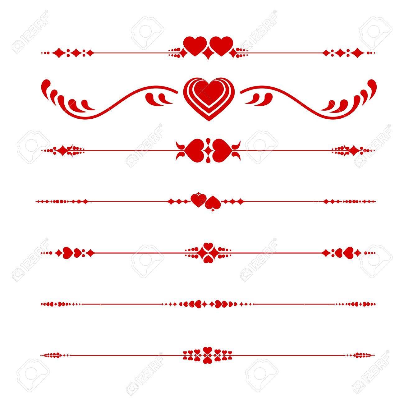 心とバレンタイン ライン装飾 ロイヤリティフリークリップアート