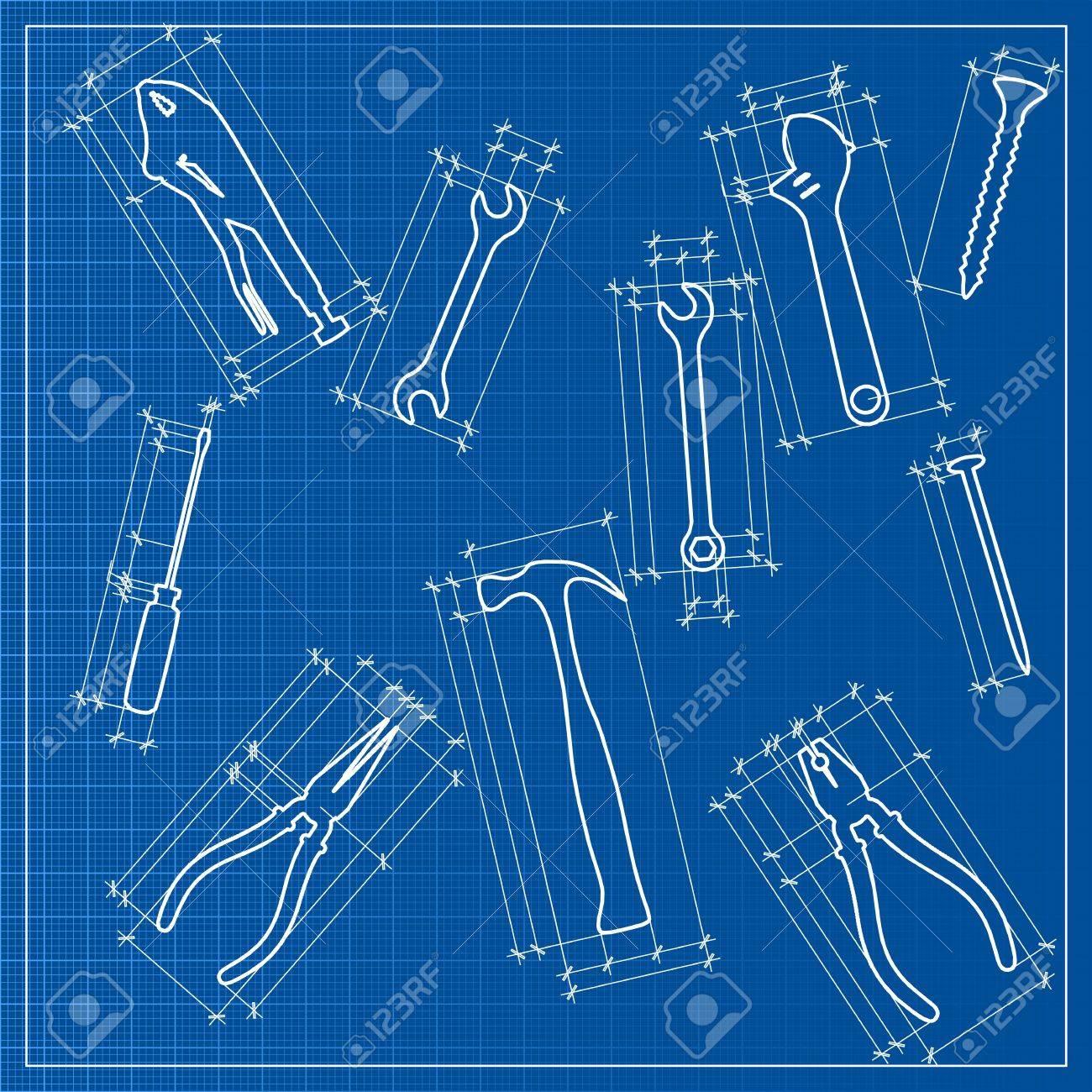 tools blueprint sketch Stock Vector - 21035275