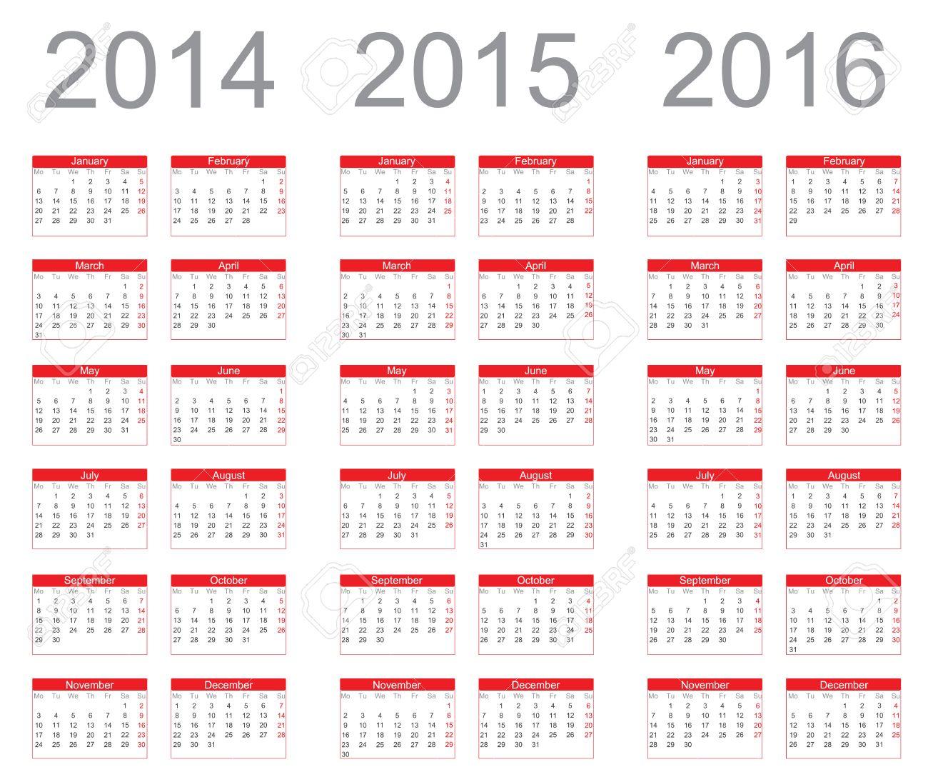 simple calendar year 2014 2015 2016 vector stock vector 22590716