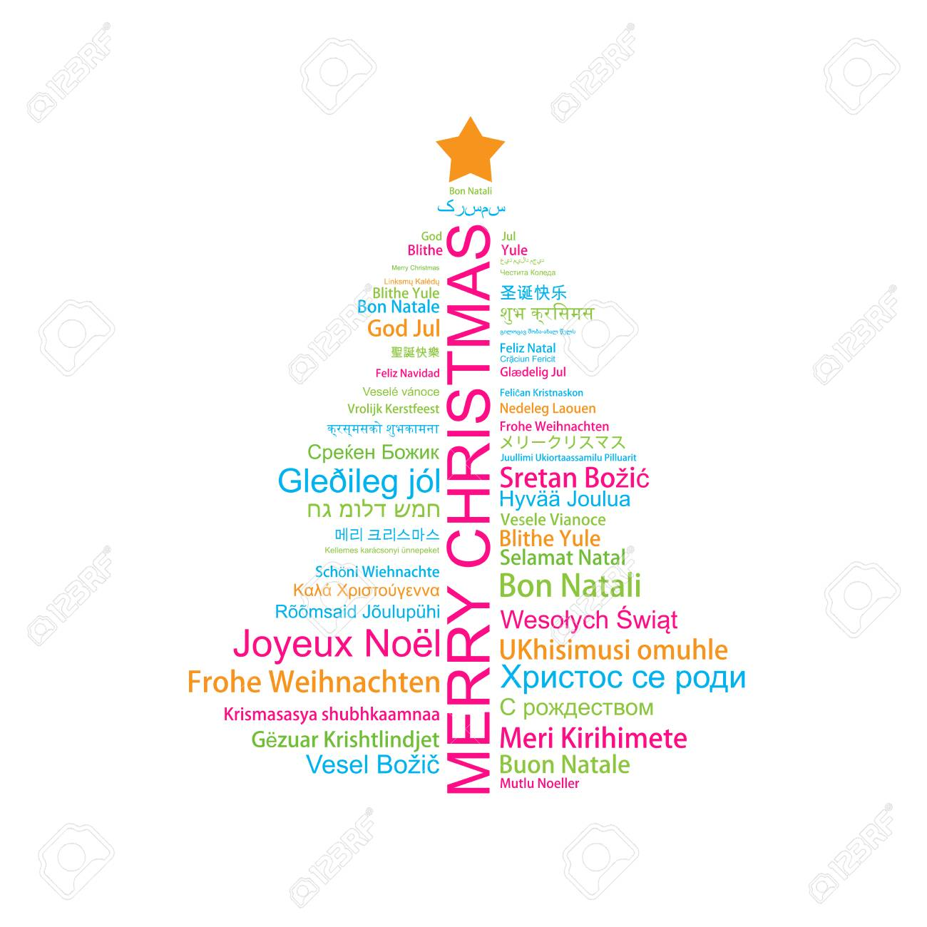 Merry Christmas In Different Languages.Merry Christmas In Different Languages In The Shape Of Christmas