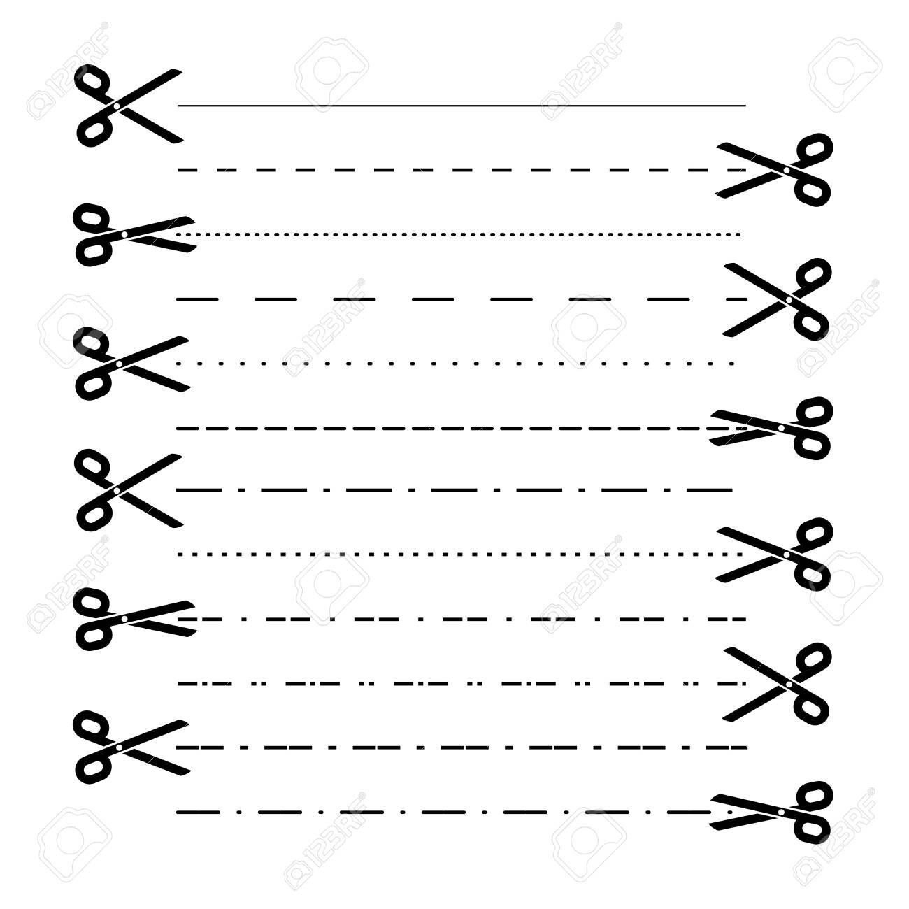 Scissors vectors with cut lines, dot, dashed lines. Dividing lines cutout. Vector - 124034295