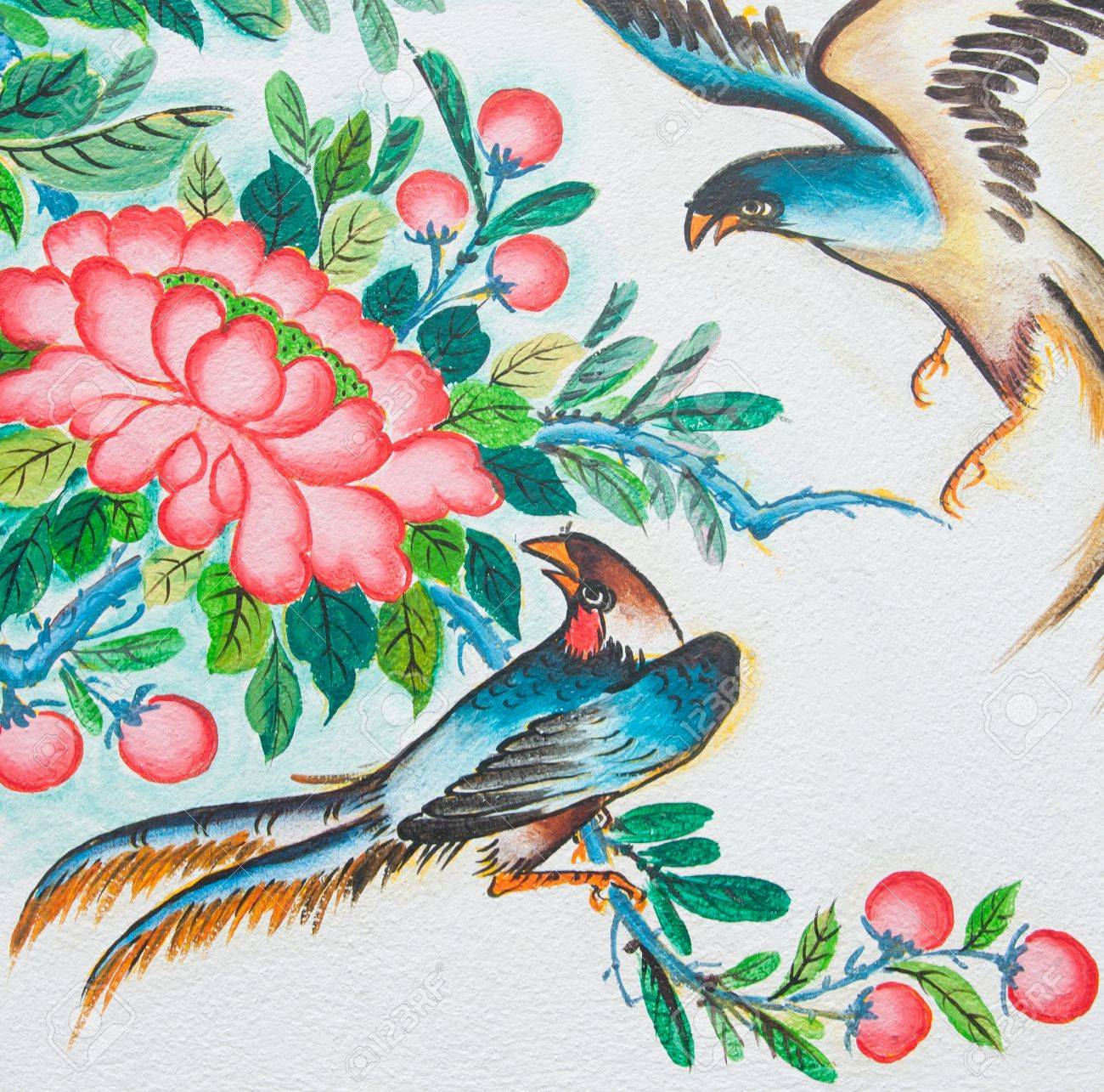 Chinese Birds Painting On Wall In Chinese Temple