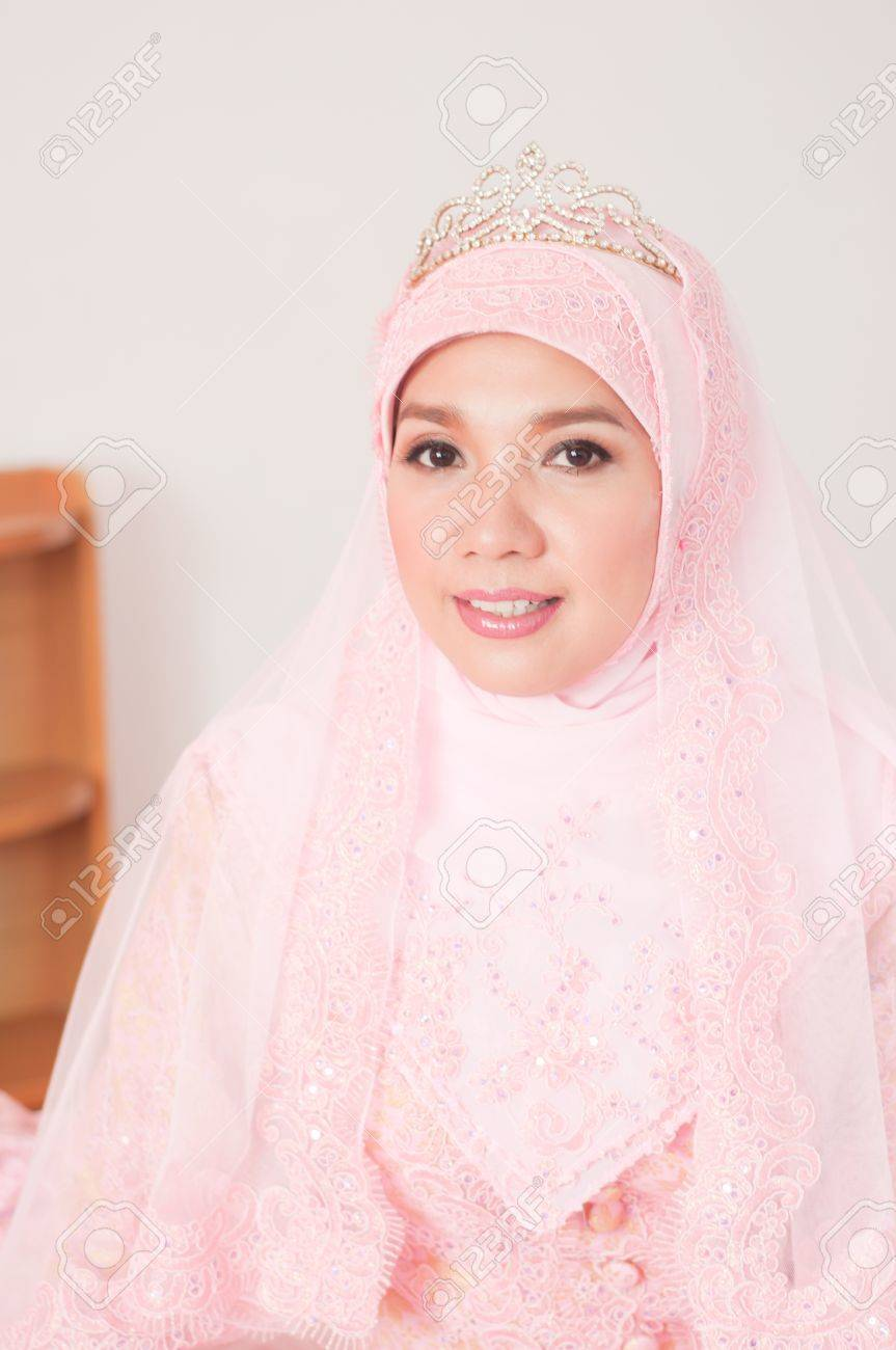 Asian Thai Attractive Muslim Women In Wedding Suit Stock Photo ...