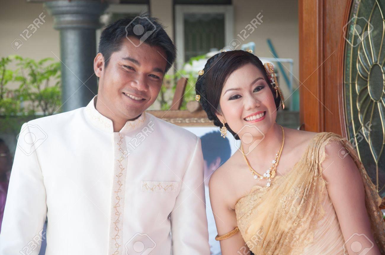 Asian Thai Couple Bride And Bridegroom In Thai Wedding Suit At ...