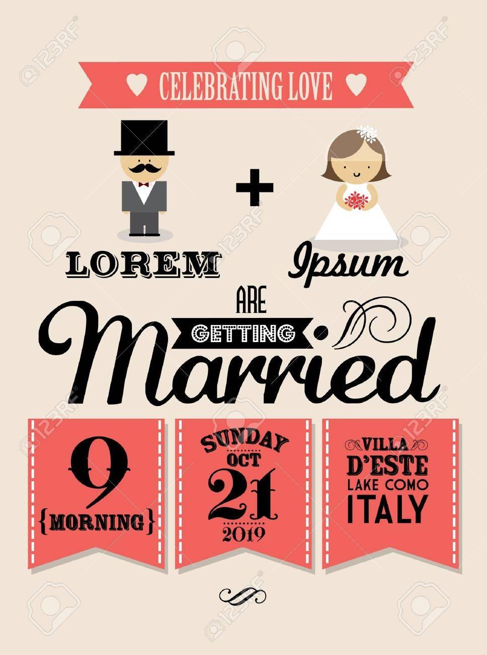 Wedding Invitation Card Template Vector Illustration Royalty Free ...