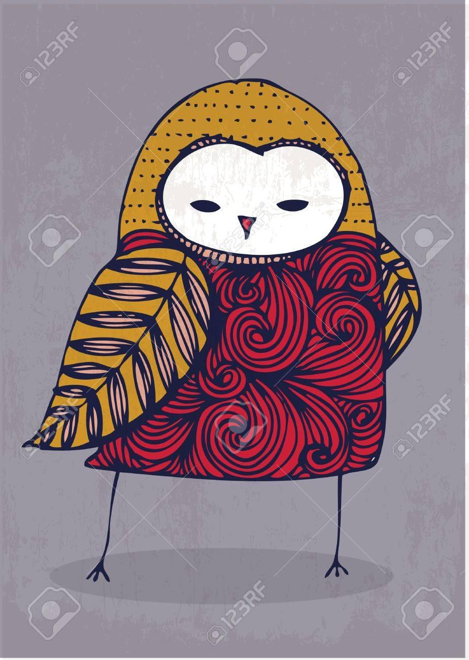 owl hand drawing illustration vector royalty free cliparts vectors