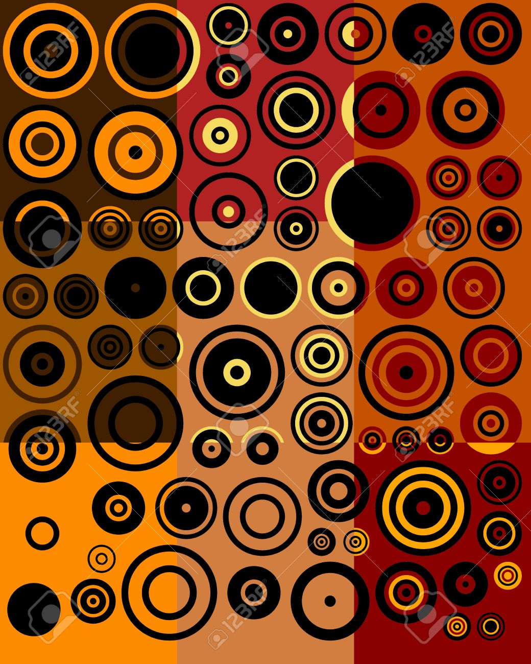 Vintage Brown Red Yellow Black Fifties Abstract Art Background