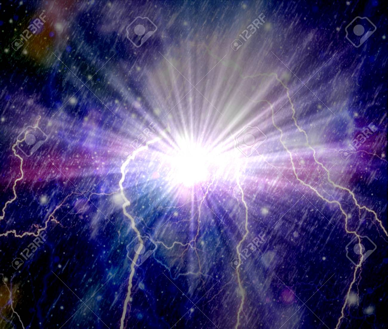 Colorful Galaxy Abstract Lightning Background Stock Photo Picture