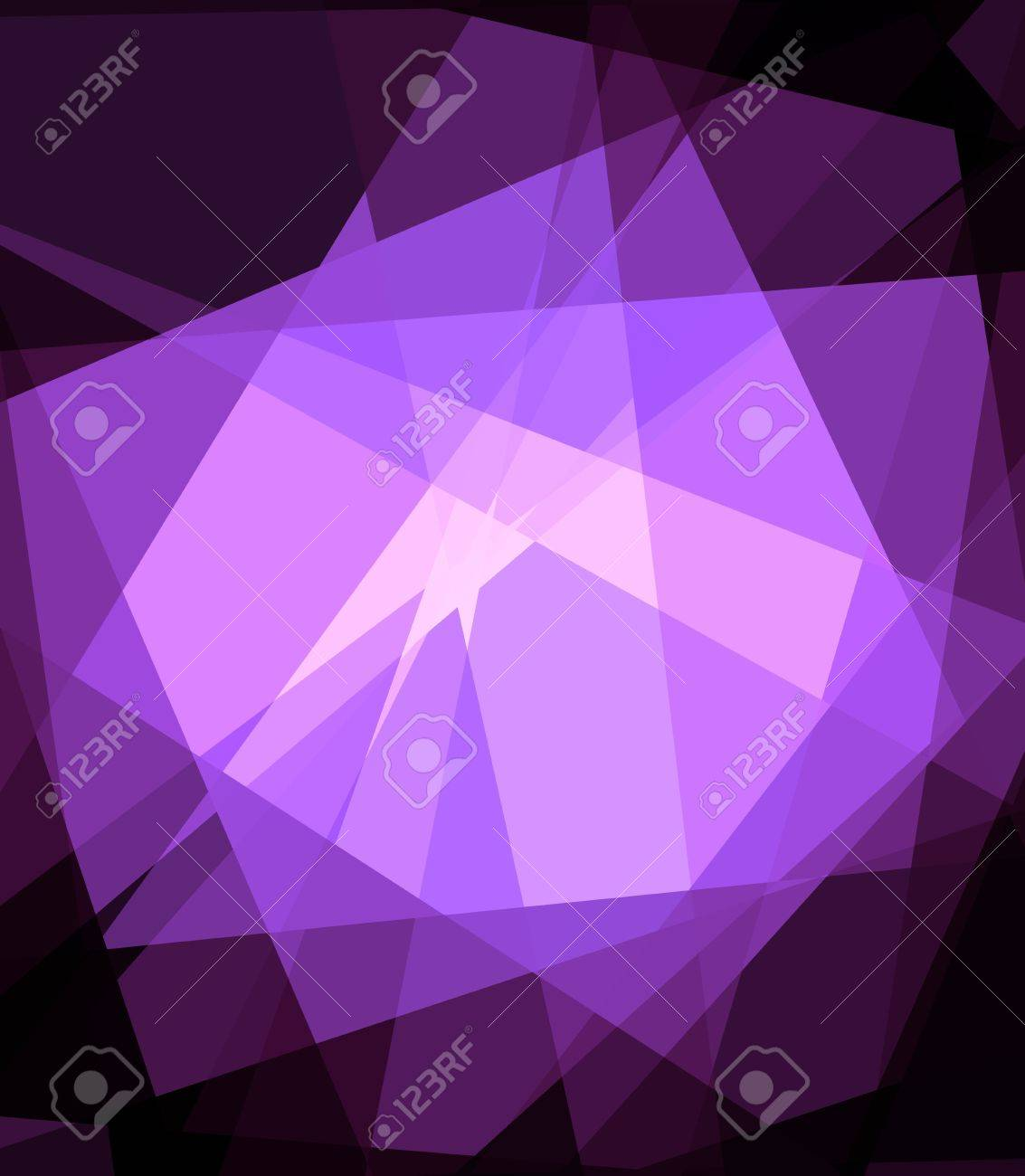 Purple Cubism Crystal Abstract over Black Background Stock Photo - 14859151
