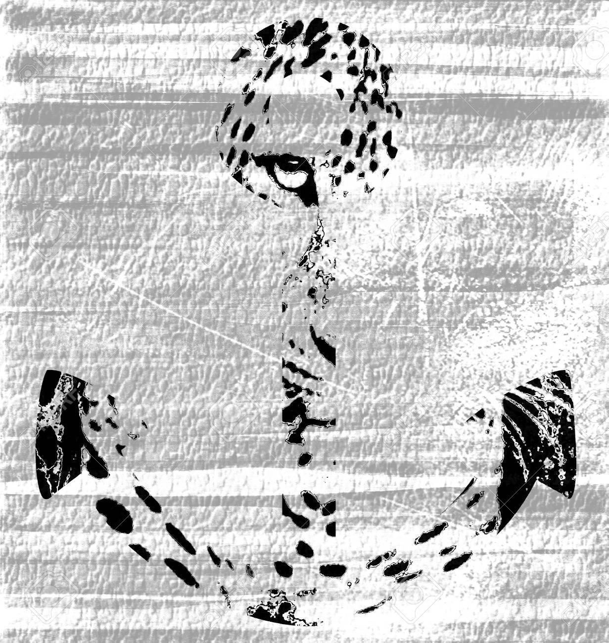 Black and White Anchor Leopard Eye Overlay Grunge Background Stock Photo - 15049944