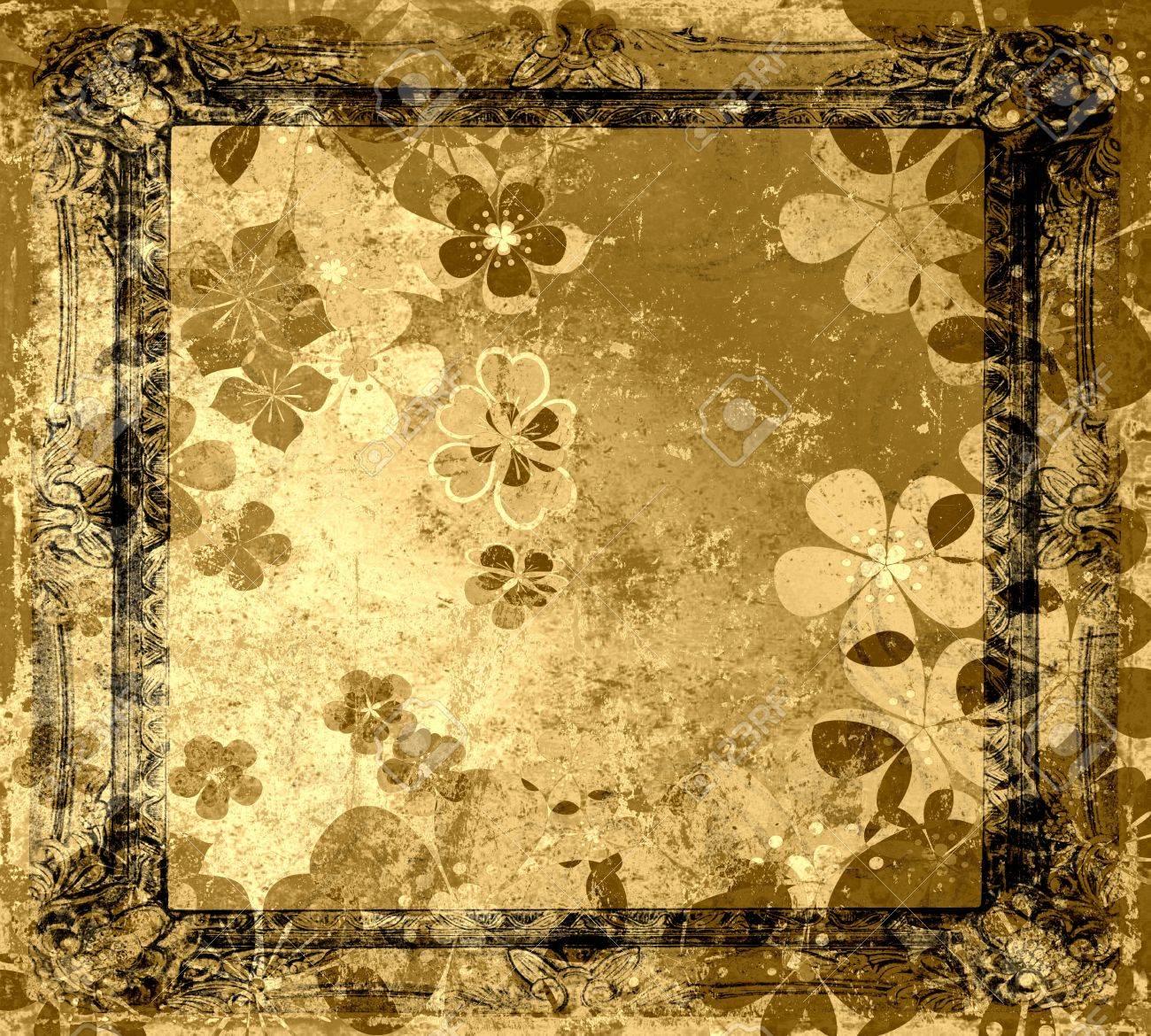 Vintage floral frame grunge old background Stock Photo - 15742484
