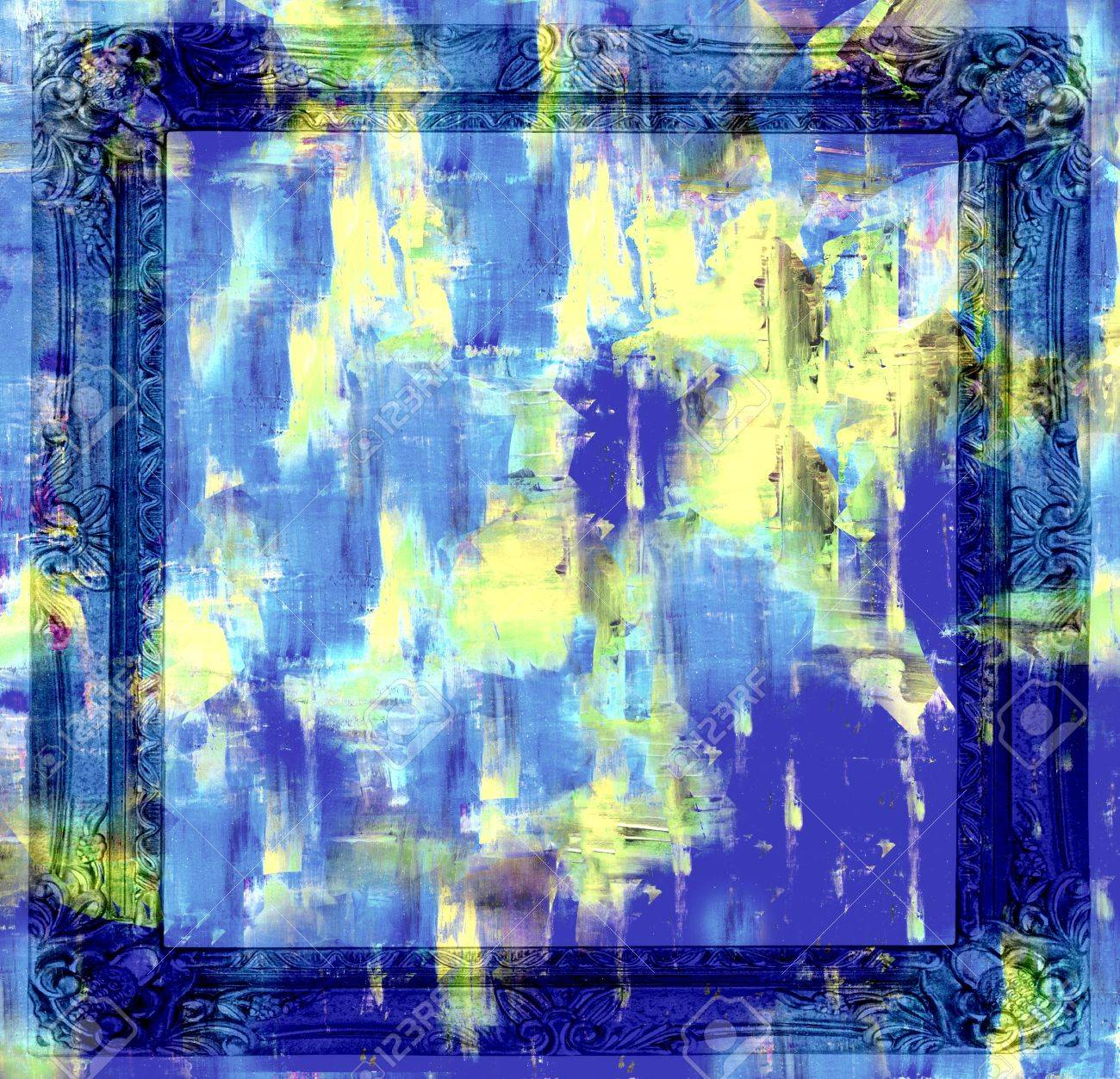 Abstract art backgrounds  Hand-painted background with Frame Stock Photo - 15742431