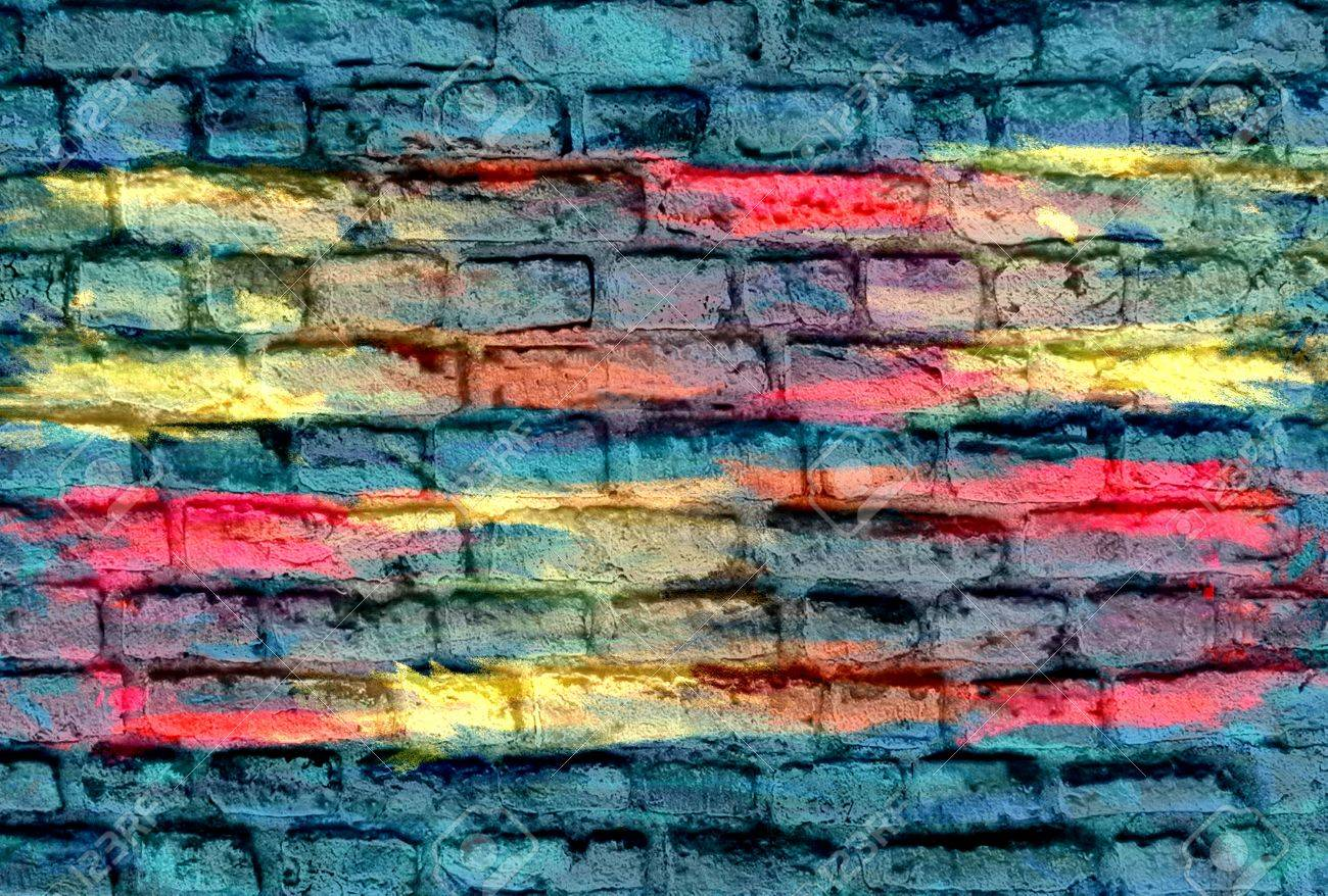 Grafitti wall background - Graffiti Brick Wall Background Stock Photo 26802276