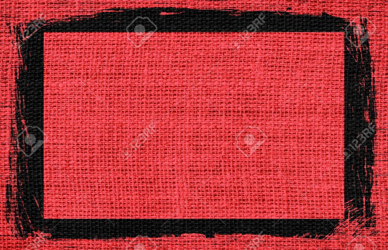 Marrón-rojo Arpillera Textura De Fondo Con Diseño De Marco Negro ...