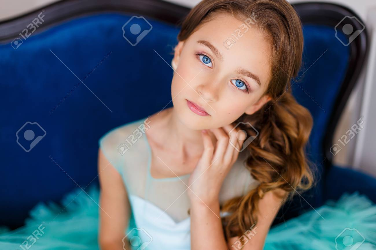 A Close Up Portrait Of A Beautiful Young Girl With Blue Eyes Stock Photo Picture And Royalty Free Image Image 99790863