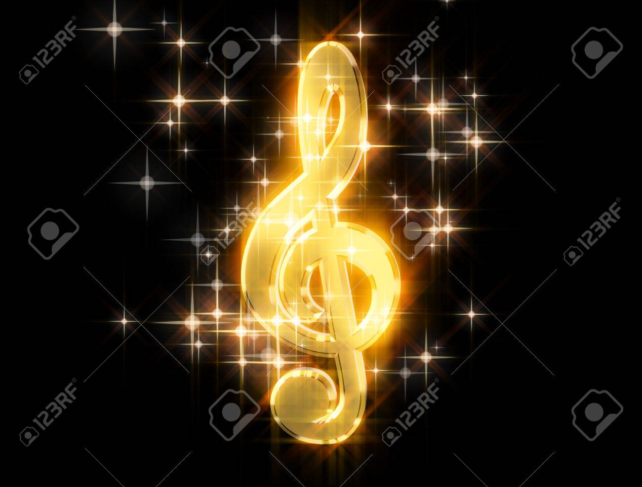 Golden treble clef, surrounded by stars on a black background - 37122103