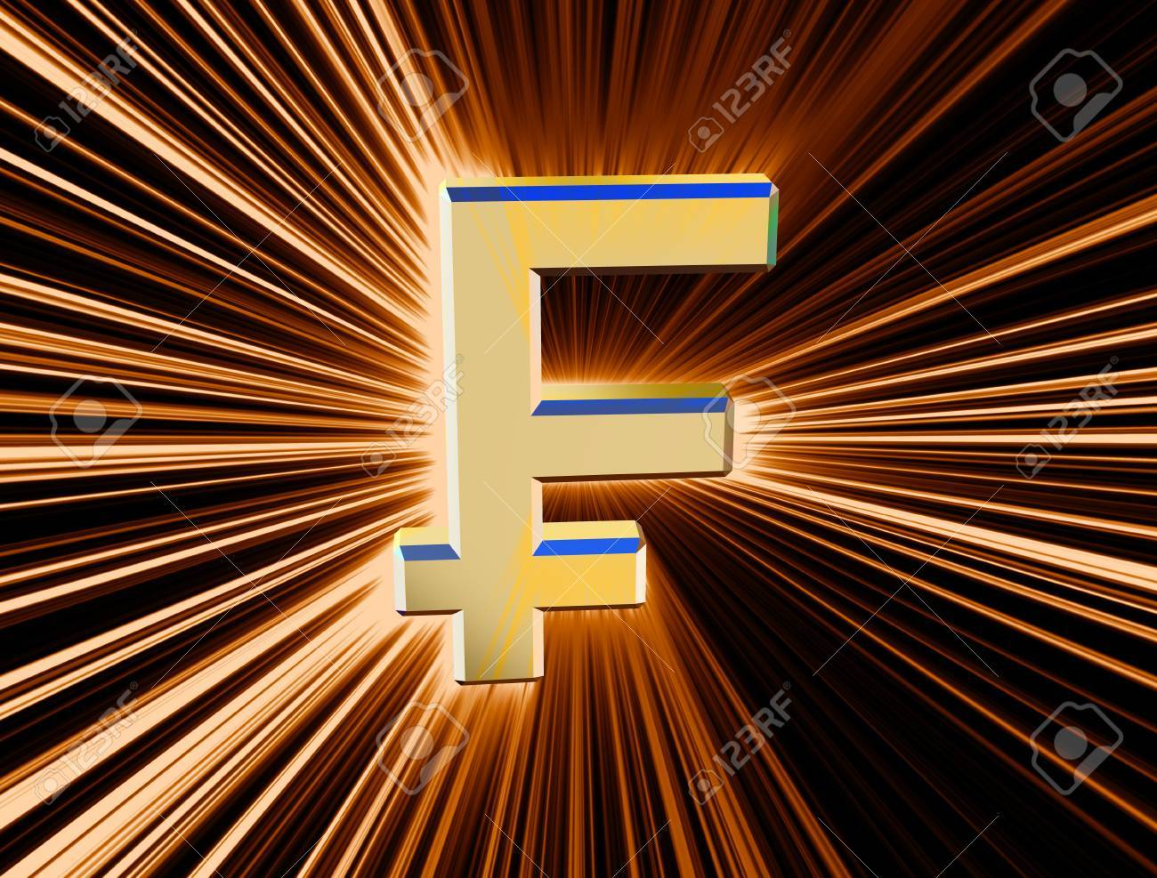 three-dimensional image of the gold franc symbol among the colored rays - 74615826