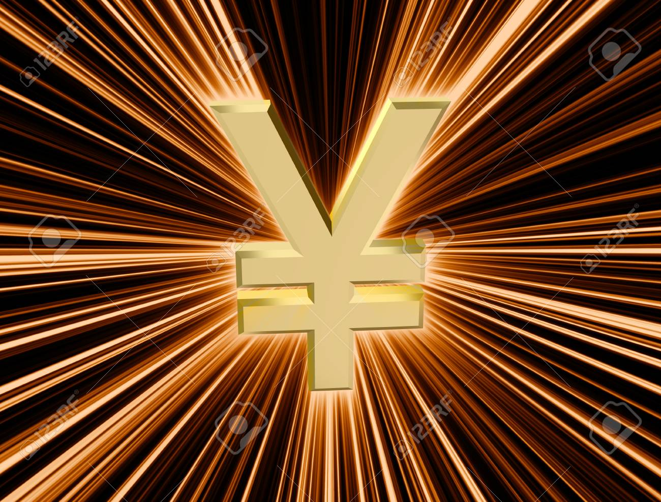 three-dimensional image of golden yen symbol among the colored rays - 74615825