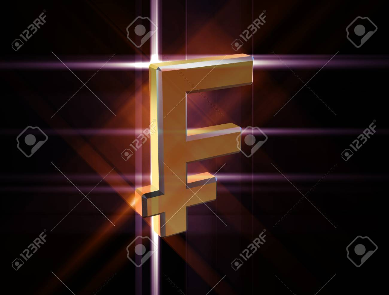 three-dimensional image of the gold franc symbol among the colored rays - 74615796