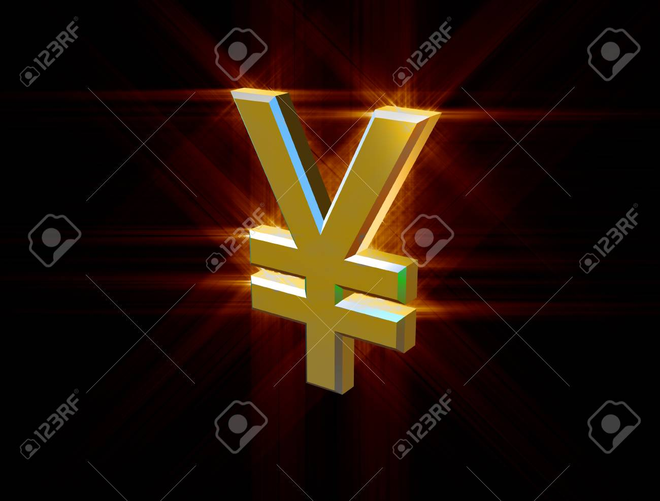 three-dimensional image of golden yen symbol among the colored rays - 74942940