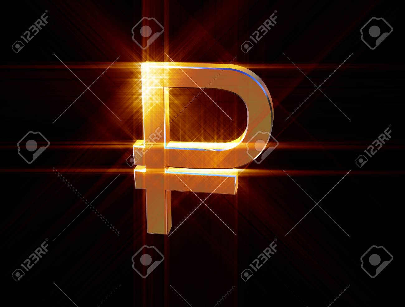 three-dimensional image of the golden symbol of the ruble among the colored rays - 74942941