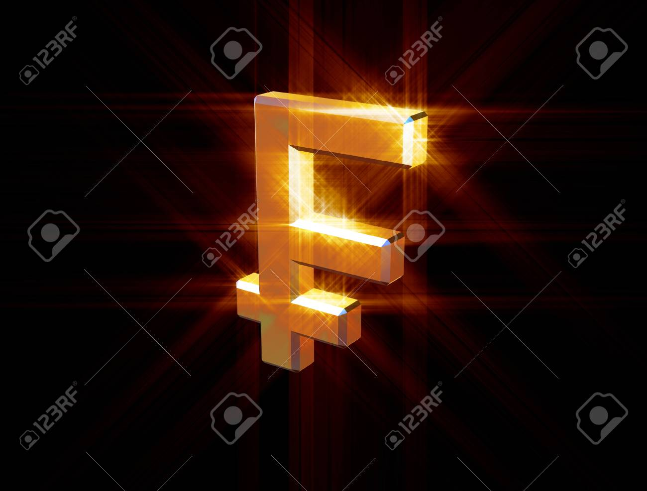 three-dimensional image of the gold franc symbol among the colored rays - 74942950
