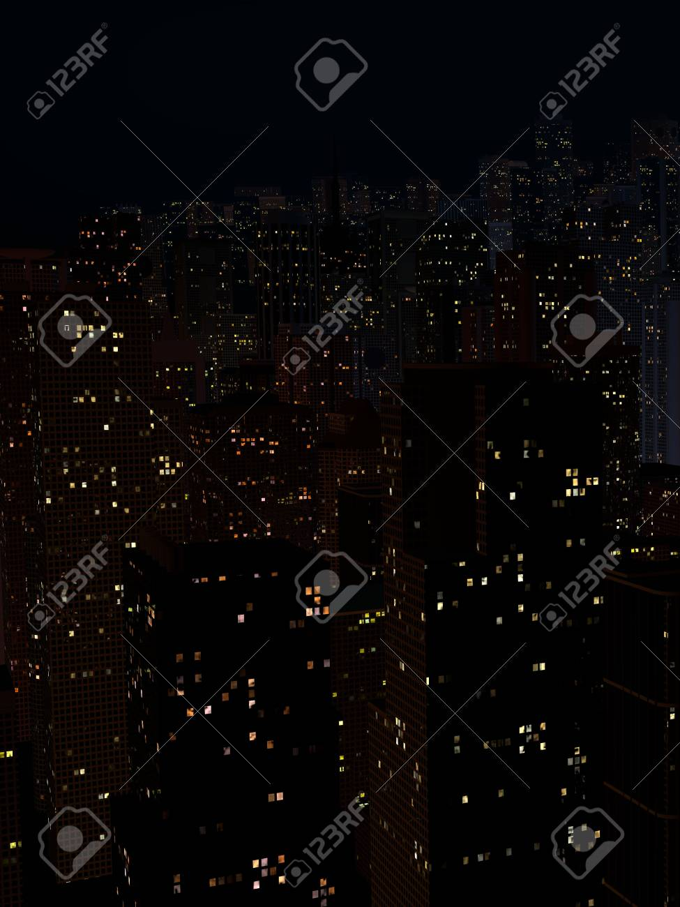 night landscape of a city with tall houses - 96970775
